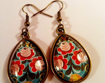 earring dangle chic multicolor floral