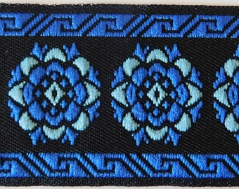 Vintage Jacquard Ribbon Trim Tape~Gorgeous Floral circle design~Royal blue~Baby Blue~Black~1-1/8""