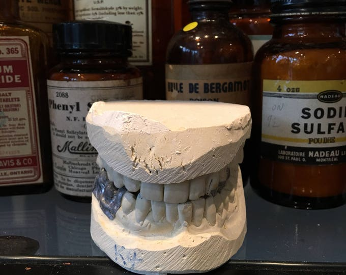 Plaster mold of a vintage weird teething