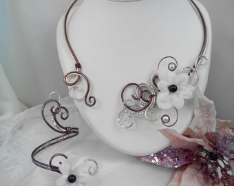 Necklace / bracelet in aluminum wire Brown and Pearl