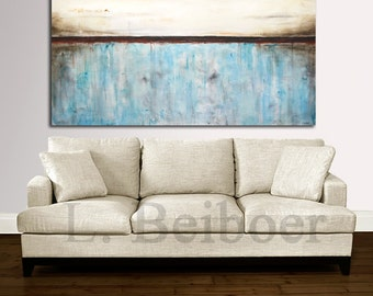 "Painting original 72"" large abstract art 6ft huge white blue modern abstract oil painting wall art large artwork by L.Beiboer MADE-TO-ORDER"