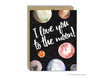 I love you to the moon card - anniversary greeting vday valentines day galaxy planets watercolor black kraft wife husband boyfriend