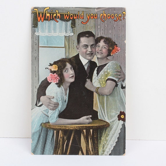 Which Would You Choose Humorous Postcard Antique RPP 1916