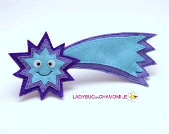 Filz COMET, gefüllte Filz Comet Magnet oder Ornament, Comet Spielzeug, Space, Universum, Kinderzimmer, Comet Magnet, Comet