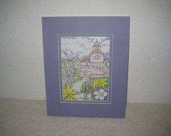 Vintage art print, spring scene, floral, old house