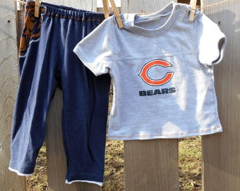 Chicago Bears pjs recycled upcycled t-shirt pajama set gender neutral clothes baby shower gift sleepware present