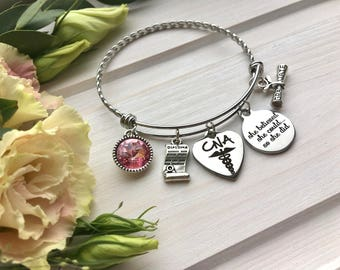 CNA Graduation gift CNA Charm Bracelet Personalized Bracelet gift-for-graduate gift-for-graduation She believed she could so she did
