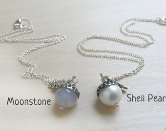 June Moonstone OR Shell Pearl Birthstone Necklace  | Acorn Necklace | June Birthday Necklace |Gemstone Acorn Charm Necklace | Nature Jewelry