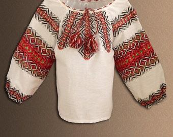 Ukrainian embroidered blouse for Girls. Ukrainian folk blouse. Red, blue, green. Vyshyvanka.