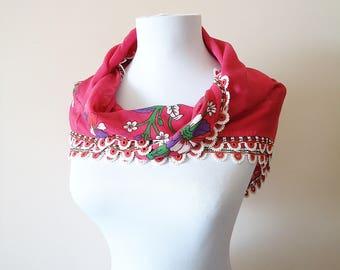Traditional Turkish Yemeni, Oya scarf, Handmade Scarf, Crochet Oya Scarf, Wrap Scarf, pink scarf, coton floral scarf, handmade lacework oya