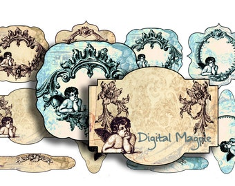Vintage labels collage sheet printable angel tags cherub digital instant download victorian gift tags