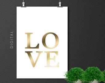 Golden LOVE Print. Valentine's Wall Art with Gold Effect. Minimalist Typography Digital Download.