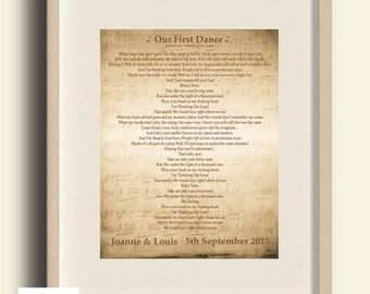 Personalised first dance song lyrics print - Wedding / Anniversary / Engagement - Any Song! DIGITAL IMAGE .jpg for personal printing