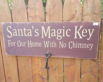 "READY TO SHIP - ""Santa's Magic Key"" - 7.5x20 - Burgundy"
