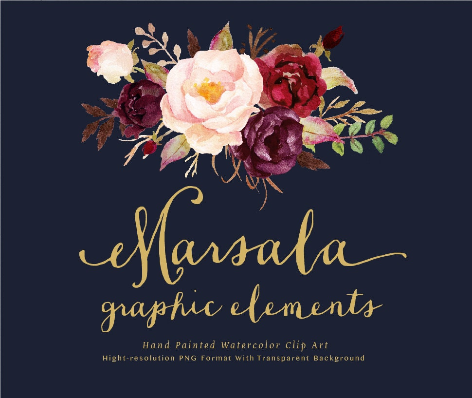 watercolor floral clip art individual png files  hand painted  wedding