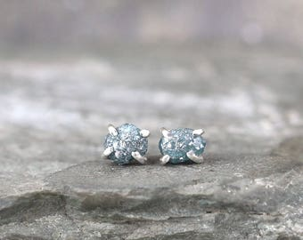 Blue Uncut Diamond Earrings -  1.5 Carat - Sterling Silver Stud Earring - April Birthstone - Rough Raw Diamond Earrings - Made in Canada