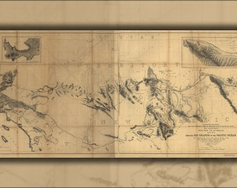 Poster, Many Sizes Available; Map Rio Grande River To Pacific Ocean 1859