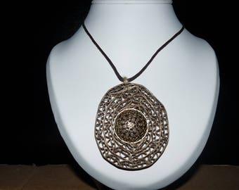 Cardboard lace + gold button necklace