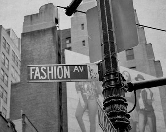 Black and white Fashion Avenue street sign New York City urban photography print 11x14, dorm wall art, gift for teen girls wall art decor