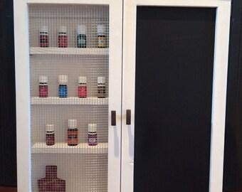Wooden multi-purpose wall hanging Cabinet // essensial oils // spice rack // medicine cabinet // nail polish organizer
