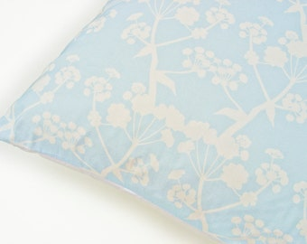 LAST ONE: Cushion Throw Pillow Cover 18 x 18 inch - Botanical Original Design in Sky Blue - Handmade in UK