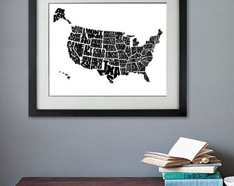 USA Word Map - A Black and White Typographic Map of the United States of America, Home Decor, Print or Canvas, Graduation Gift, Kids Bedroom