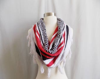Red Cowl- Boho Fringe- Bohemian Style- Bohemian Accessories- Snood- Mexican Blanket- One Of a Kind- Knitted Cowl- Boho Scarf- Cowl Scarf