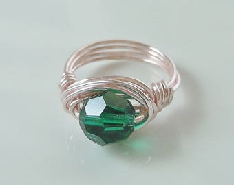 Wire Wrapped Ring with Emerald Green Swarovski Crystal 8mm Bead