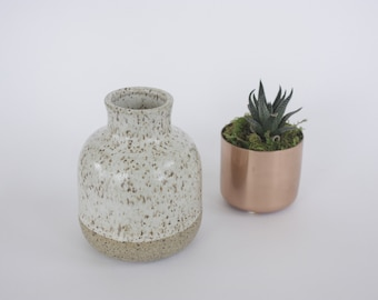 Speckled White Bud Vase