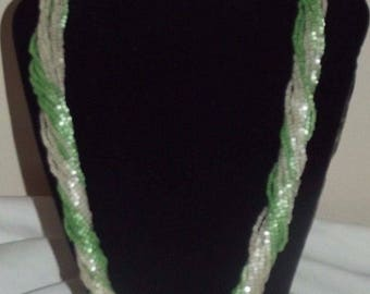 Vintage 1950's Green and White Tiny Glass Beads Multi Strand Necklace