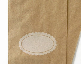 """100 Kraft Paper Bags 5"""" x 7.5"""",  with White Scalloped Oval Design for Personalizing"""