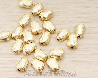 BDS054-MG // Matte Gold Plated Brushed Organic Nugget Shaped Metal Bead Charm, 2 Pc