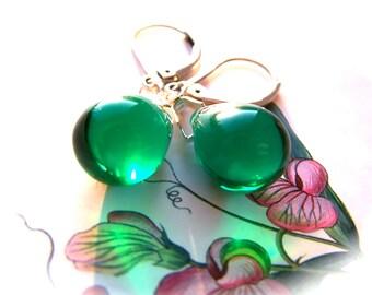 Green Drop Earrings, Dark Green Earrings, Tear Drop Earrings, Green Dangle Earrings, Glass Teardrop Earrings, Best selling jewelry, Etsy UK