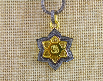 Pave Diamond Pendant, Pave Ohm Pendant, Diamond Ohm Charm, Pave Religious Charm, Pave Connector, Gold Plated Over Silver. (DCH/CR/473)