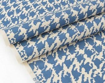 Silky cotton Japanese fabric fluid houndstooth blue x 50cm