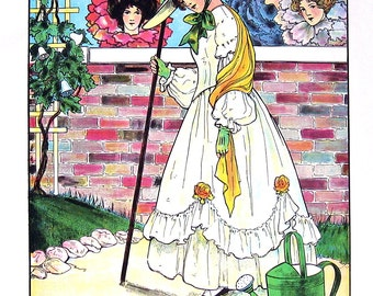 Mary Mary Quite Contrary - Mother Goose Print - 1989 Vintage Book Page - 9 x 11