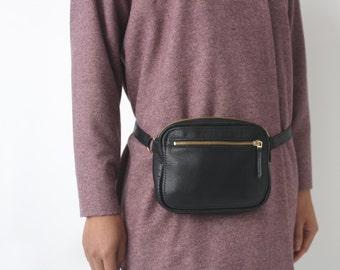 Fanny Pack, Crossbody Bag, Hip Bag, Festival Fanny Pack, Leather Zipper Belt Bag Black