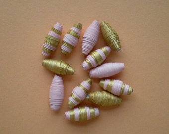 Handmade, sturdy paper beads-gold-pink/pink-gold