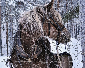 Winter Horse Zen Puzzle - Hand crafted, eco-friendly, American made artisanal wooden jigsaw puzzle