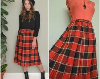 Vintage 90's Red Checked Plaid Tartan Box Pleat Midi High Waisted Elasticated Skirt size medium