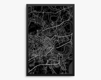 Ho Chi Minh Street Map, Ho Chi Minh Vietnam, Modern Art Print, Vietnam Gift, Vietnam Decor, Man Cave, Office Decor, Home Decor, Gift Idea
