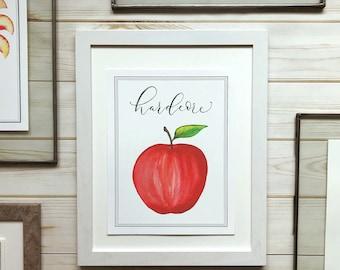 Red Apple Watercolor Print, Hardcore Apple, Fruit Puns, Art Print, Home Decor, Home decorations, watercolor print, Kitchen Art Print, Apples