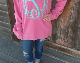 Comfort Color Monogram Sweatshirt - Left Chest Monogram - Great to wear with Leggings- Personalized Sweatshirt - Monogram Tunic -Long length atFeLibv