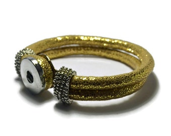 Gold PU  Leather Snap Bracelet for Interchangeable Snap Jewelry Buttons