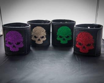 Celtic Skull Leather Wristcuff/Wristband/Cuff Bracelet/Gothic/Biker/Steampunk/Dieselpunk