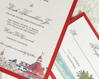 Hotel del Coronado Wedding Invitation Suite // Hotel wedding invitations // California wedding invitations