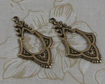 LuxeOrnaments Oxidized Brass Filigree Drop-Pendant (Qty 2) 39x22mm S-5348-B
