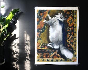 Persian Dream- Original Large Cat Watercolor Painting