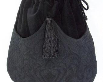 Black Mattelasse' Bag Black Velvet Bag   Evening Bag  Black Bag With Tassel  Renaissance Bag