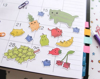 Fruit Cats Stickers Paper Stickers Journaling Sticker Flakes Cute Cats Cute Food Food Cats Funny Humor Silly Stationery Scrapbooking